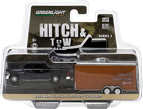 2014 Dodge Ram 1500 & Enclosed Car Hauler Hitch & Tow Series 2 1/64 by Greenlight - Hauler Trailer Car Enclosed