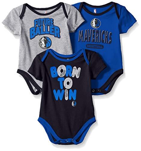 (Outerstuff NBA NBA Newborn & Infant Dallas Mavericks Little Fan 3pc Bodysuit Set, Heather Grey, 18 Months)