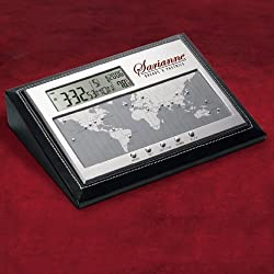 World Time Zone Desk Clock with Temp, Alarm - Felted Faux Leather Case.