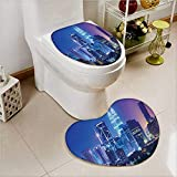 Non Slip Bath Shower Heart shaped foot pad Scenery with Kuala Lumpur India Skyscrapers Print 2 Pieces Microfiber Soft