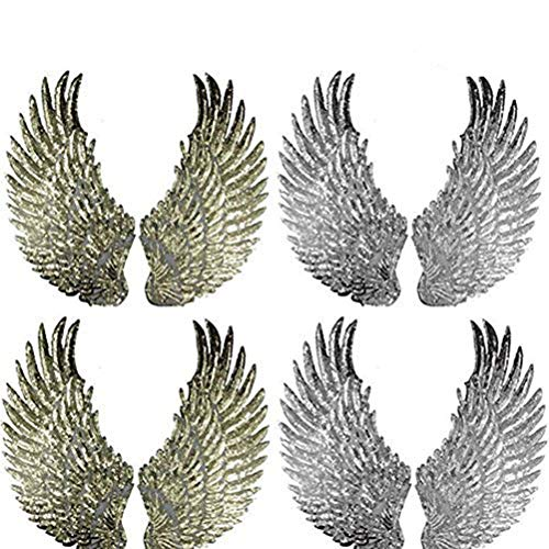 Cha Long 4 Pairs of Sequins Angel Wings Iron On Patch DIY Embroidered Applique Bling Wings for Jackets Cloth Decoration Gold and Silver