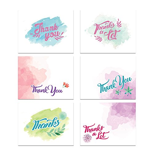 Water Colors Thank You Card Assortment Pack - Set of 36 cards blank inside - 6 designs blank inside - with white envelopes