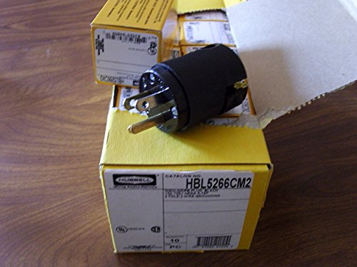 5266CBK, HBL5266CM2 15A 125V U/G EDISON MALE PLUG { ALL BLACK } BOX OF 10