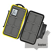 KUPTON water-resistant memory card case shockproof memory card case box for 12 piece SDHC / SDXC card / MicroSD card SD card +KUPTON Superfine Fiber Cloth