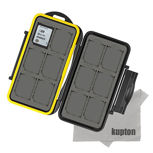 KUPTON Water-Resistance Memory Card Case for 12 Piece with Fiber Cloth