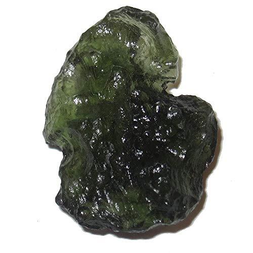 SatinCrystals Meteorite Moldavite Collectible Genuine Green Tektite Infinite Energy Space Gemstone- Chlum, Czech Republic C52 (Inner Child 23mm)