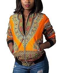 Remelon Womens Floral Dashiki Print Slim Zip Up Motorcycle Bomber Flight Jacket Outwear Yellow M