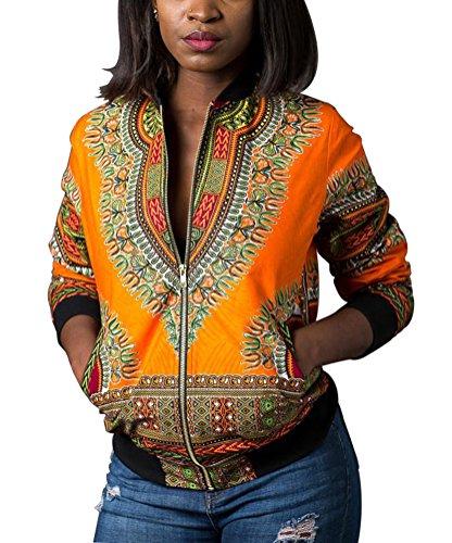 Remelon Womens African Print Classic Zipper Biker Bomber Jacket Short Coat Yellow S