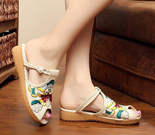 Avacostume Donna Cinese Stile Etnico Ricamo Comode Scarpe Estive Pantofole Casual Da Passeggio Beige