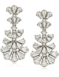 Pearl and Crystal Deco Fan Post Drop Earrings for Bridal Wedding Anniversary