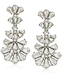 Ben-Amun Jewelry Pearl and Crystal Deco Fan Post for Bridal Wedding Anniversary Drop Earrings