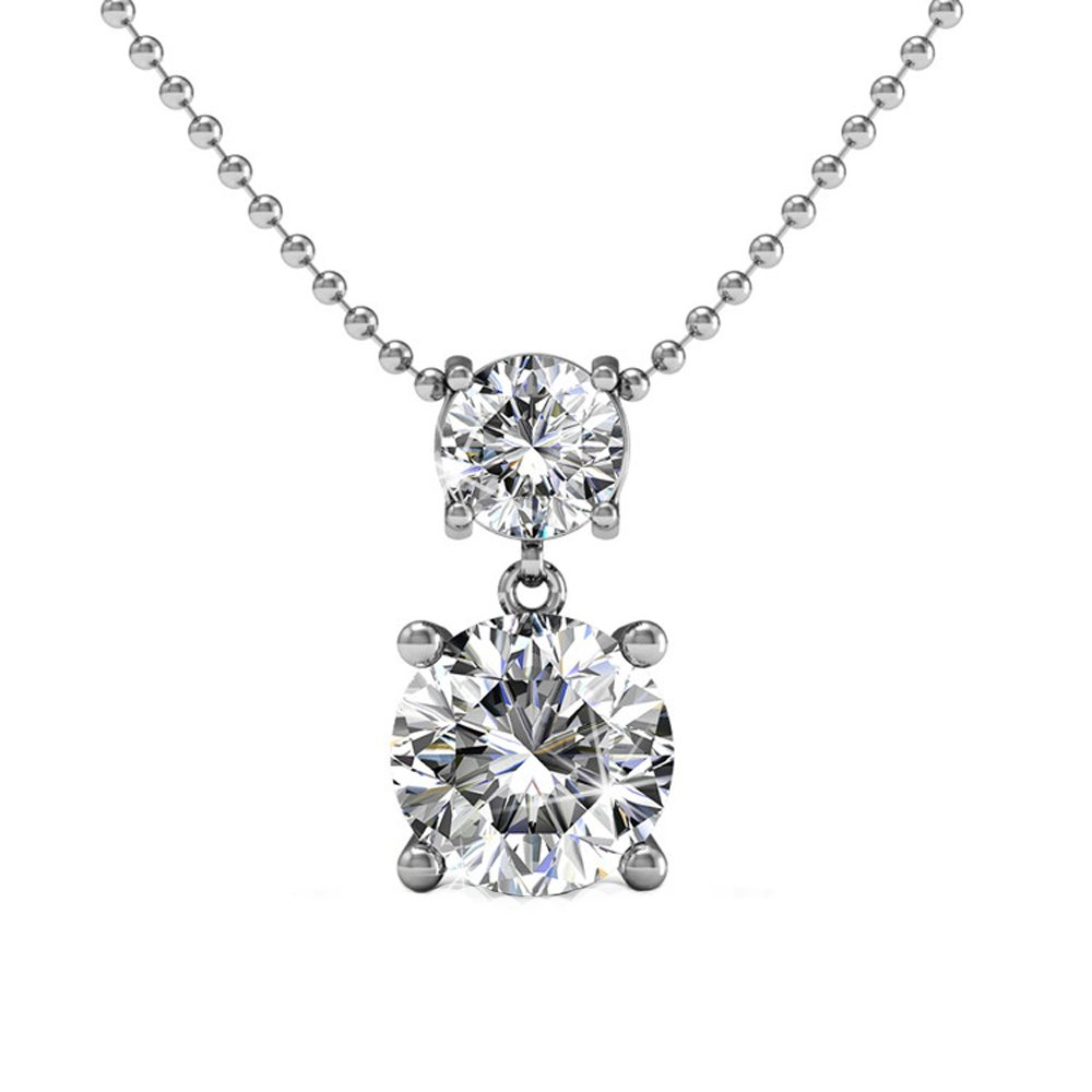 Cate & Chloe Jasmine 18k White Gold Drop Pendant Necklace with Swarovski Crystals, Beautiful Double Solitaire Round Diamond Cut Crystals, Wedding Anniversary Fashion Statement Necklace - MSRP $145