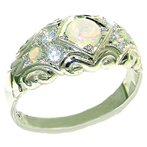 925 Sterling Silver Natural Opal and Diamond Womens Band Ring - Sizes 4 to 12 Available - Sterling Silver Diamond Antique Ring