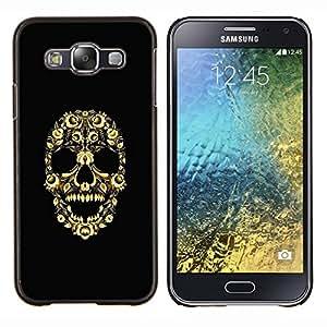 TECHCASE---Cubierta de la caja de protección para la piel dura ** Samsung Galaxy E5 E500 ** --Cráneo Bling Flores florales Esqueleto Amarillo