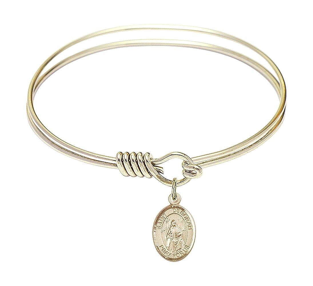 St Deborah Charm On A 6 1//4 Inch Round Eye Hook Bangle Bracelet
