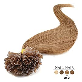 20″(50cm) 100 Strands Straight Pre Bonded U Nail Tip Keratin Fusion Remy Human Hair Extensions 0.5g Per Strand [Set Weight: 50grams] (Color #12 light golden brown)