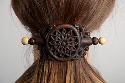 Handmade Designer Dark Tinted Wooden Hair Clip with Carved Ornament Jewelry Ideas
