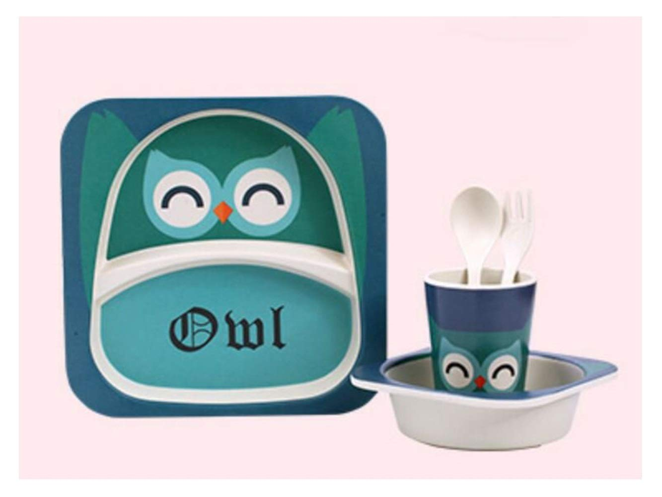 Yuchoi Contemporary Bamboo Fiber Cartoon Animal Dish Children Plate Fork Spoon Cup Set for Kids(Owl)