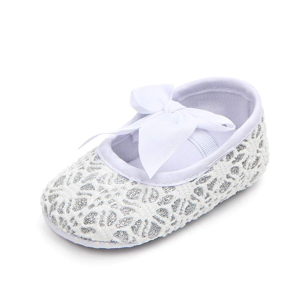 UWESPRING Baby Girls Shoes Sparkly Cute Bow Lightweight with Socks