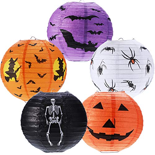 Boao 5 Pieces Halloween Paper Lanterns Jack-o'-Lantern Pumpkin Lantern Spider Bat Skeleton Lantern for Halloween Party Decor, 8 -