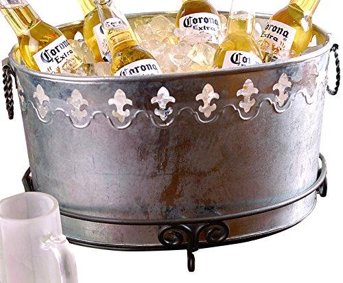 KINDWER Galvanized Fleur de Lis Oval Tub, Grey (Beverage Fleur Tub De Lis)