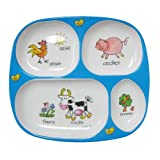 Divided Tray Baby Cie Farm Animals: Les Animaux de la Ferme Melamine Colorful dinnerware with wording