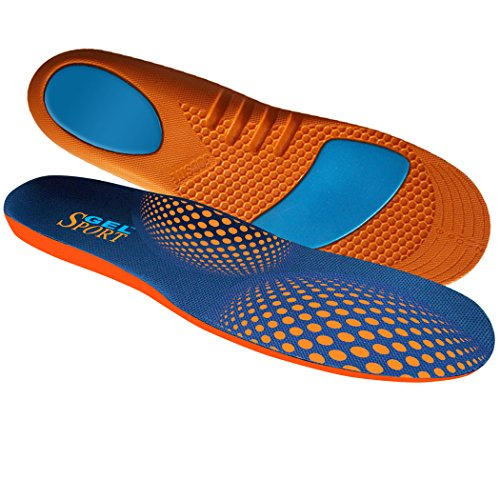 JobSite Gel Sport Insoles - Gel Heel Shock Buster & Comfort Forefoot Gel Cushion - Help Prevent Everyday Foot Pain, Heel Pain, Ball of Foot Pain & Plantar Fasciitis - Men Size 8-13 (Trim to Fit)