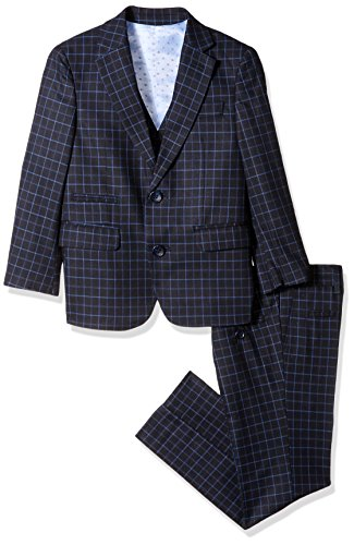Isaac Mizrahi Toddler Boys' 3pc Vested Check Suit, Blue, 3 by Isaac Mizrahi
