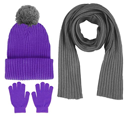 Price comparison product image S.W.A.K Girls Knit Hat, Scarf And Gloves Set- Purple/Grey