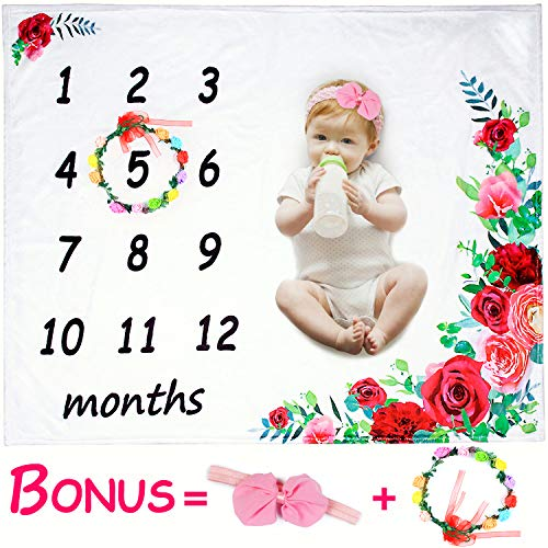 ROYBENS Baby Monthly Milestone Blanket Girl, 2019 Floral Plush Fleece Baby Photography Background Prop Memory Blanket Boy Large Newborn Soft Wrinkle-Free Flower Blanket, Bonus Wreath Headband (Creative Stuff)