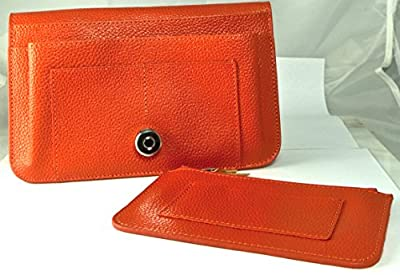 Hampton Gems-orange (hermes Color) Leather Wallet/clutch With Separate Chain Purse