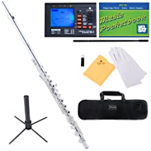 Mendini Closed/Open-Hole Key of C Flute with B-Foot Joint, Silver Plated and Tuner, Case, Stand, Pocketbook - MFE-30S+SD+PB+92D