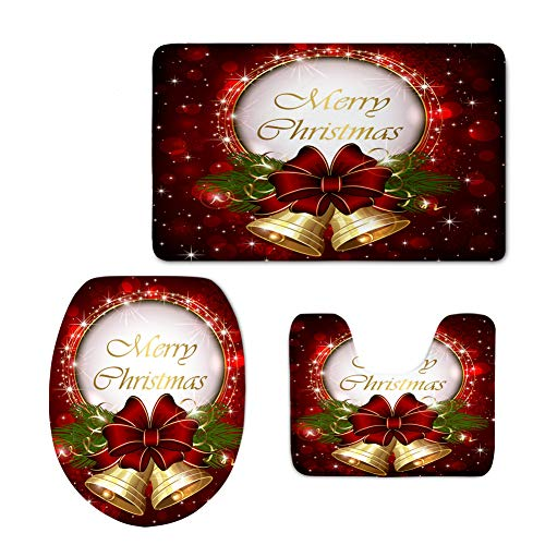 HUGS IDEA Merry Christmas Bath Rug Sets 3 Piece for Bathroon Soft Flannel Door Mats Contour Rugs and U-Shaped Lid Toilet Cover,Xmas Floral Poinsettia Bell