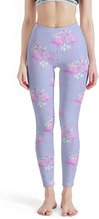 Womens High Waisted Leggings Yoga Workout Pants Flamingo