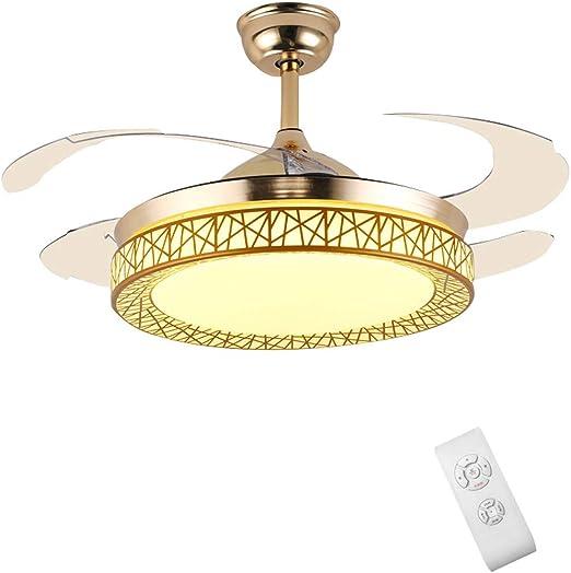 YX Ceiling Fans Luz de ventilador de techo con control remoto, lámpara LED regulable reversible con aspas invisibles retráctiles, motor silencioso, para sala de estar, dormitorio, restaurante, 42 pu: Amazon.es: Hogar