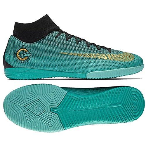 NIKE Superfly 6 Academy CR7 IC Mens Soccer-Shoes AJ3567-390_9.5 - Clear Jade/MTLC Vivid Gold-Black