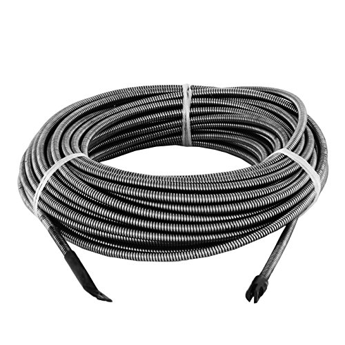 LOVSHARE 100 FT Drain Auger Wire 3/8 Inch Slotted End Music Wire 30M Cable Machine Drain Wire Snake Replacement for Drain Cleaner Machine