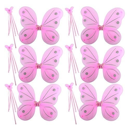 kilofly 6 Sets Princess Party Favor Jewelry Fairy Costume Dress Up Role (Child Pink Ballerina Costumes)