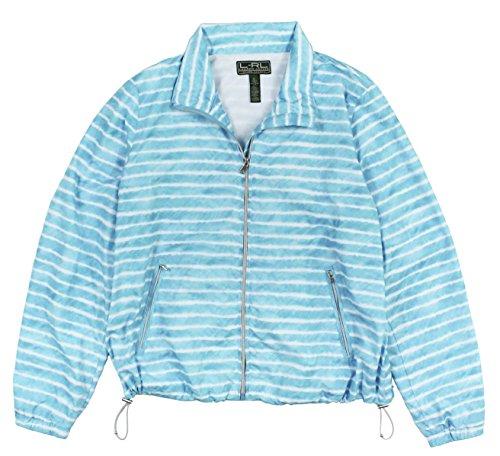 Lauren Ralph Lauren Women's Zip-Up Striped Active Jacket Large Turquoise White