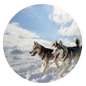 alfombrilla de ratón trineo de perro de raza Husky siberiano - ronda - 20cm