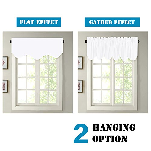 H.VERSAILTEX Privacy Protection Kitchen Valances for Windows Room Darkening Curtain Valances for Bedroom, Rod Pocket Top, 4 Pack, Pure White, 52 x 18 Inch by H.VERSAILTEX (Image #5)'