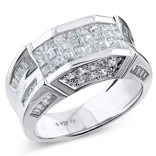Men's Sterling Silver .925 Designer Ring Band Featuring 52 Round and Baguette Invisible and Channel Set Cubic Zirconia (CZ) Stones (6)