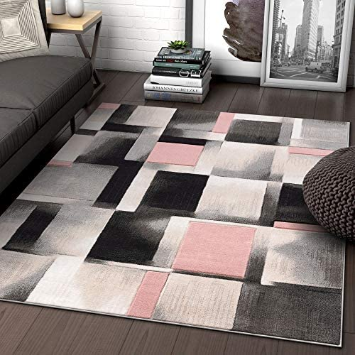 Well Woven Lane Blush Pink Modern Geometric Boxes Squares Pattern Area Rug 8×10 7 10 x 10 6