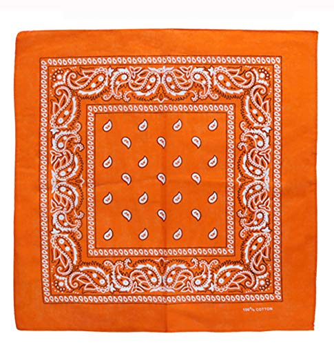 Charlotte 12Pcs Bandanas 100% Cotton Paisley Print Head Wrap Wristband (Orange)