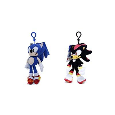 "Sonic the Hedgehog Shadow and Sonic 8"" Plush Clip with small zipper pouch - 2 pcs ( 1 of each ): Toys & Games"