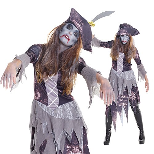 [Womens Ghost Ship Pirate Wench Fancy Dress Costume Costume,Med 6 - 8 US,Gray] (Ghost Pirate Costume)