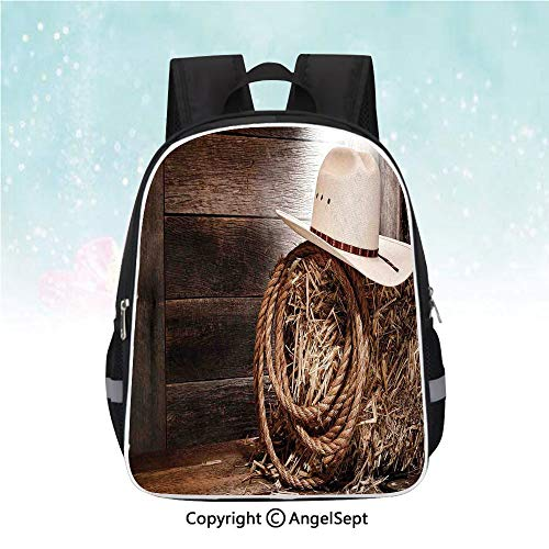 School Student Backpack,American West Rodeo Hat with Traditional Ranching Robe on Wooden Ground Folk Art Photo Decorative,13