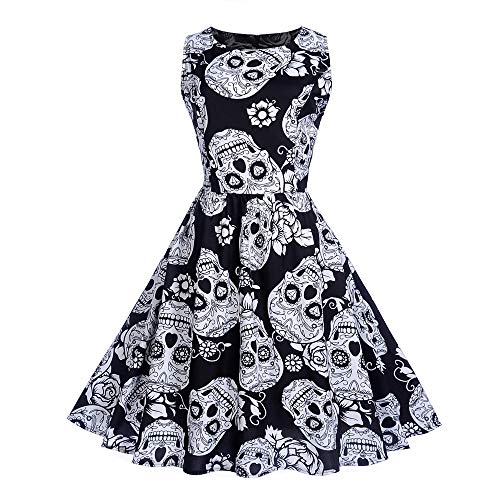 MEANIT Women's Vintage Skulls Clothes Ball Gown Evening Party Halloween Dress White