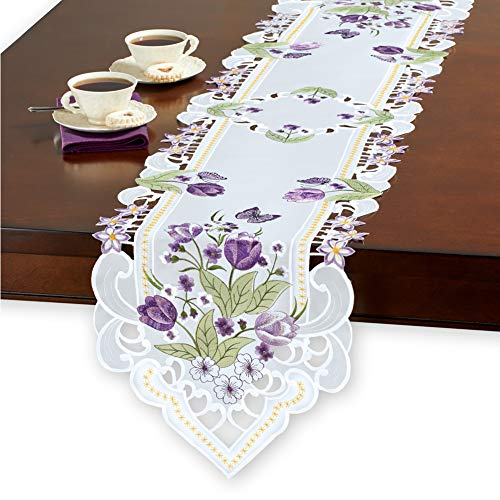 (Collections Etc Embroidered Blooming Purple Tulip Garden and Butterfly Cutout Table Linens - Spring Decor and Tabletop Accent, Runner)