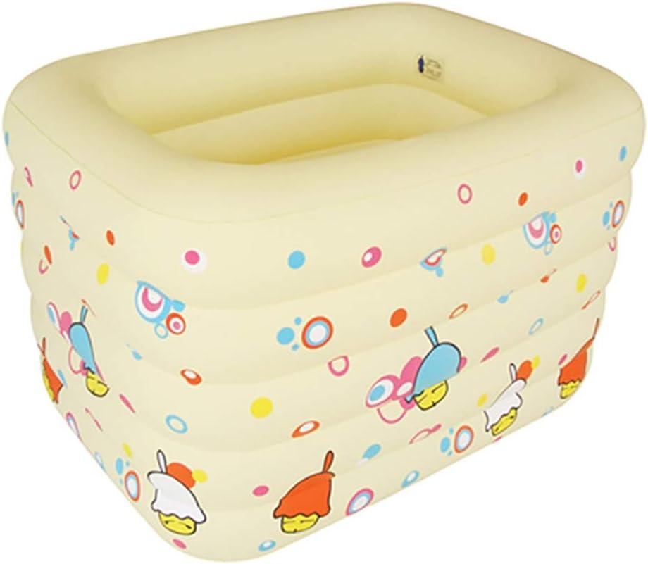 ファミリーインフレータブルプール、滑り止めの耐摩耗性スクエアインフレータブルプール、赤ちゃん用折りたたみ浴槽、2色、145 * 106 * 75cm 青